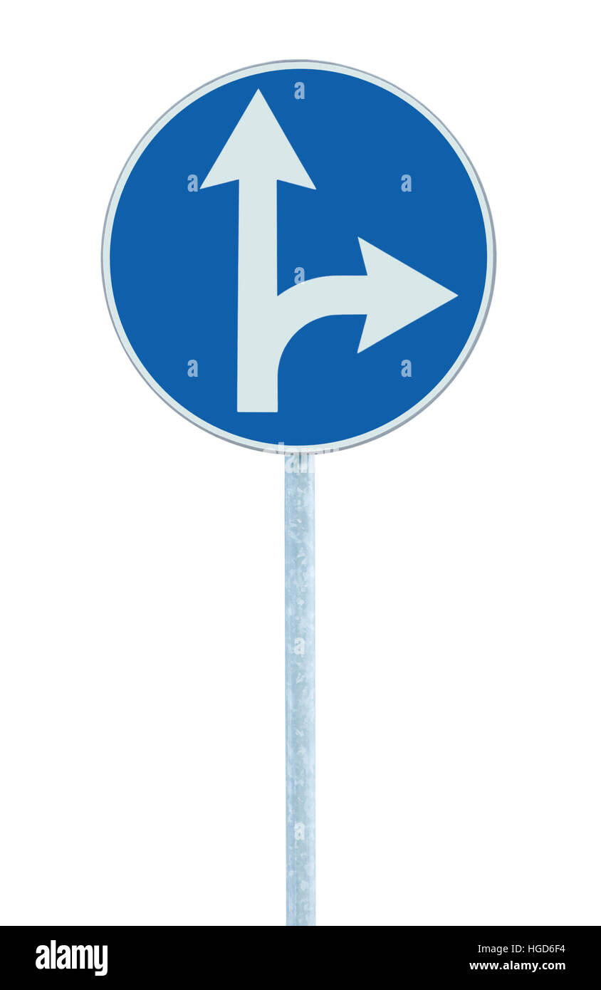 Mandatory straight or right turn ahead, traffic lane route direction pointer road sign, choice concept, blue isolated, - Stock Image