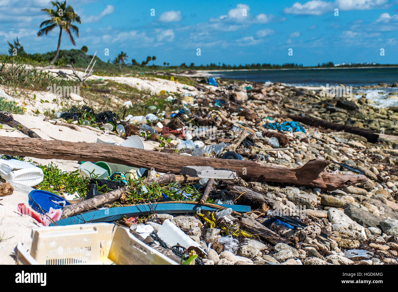 Mexico Coastline ocean Pollution Problem with plastic litter 4 - Stock Image