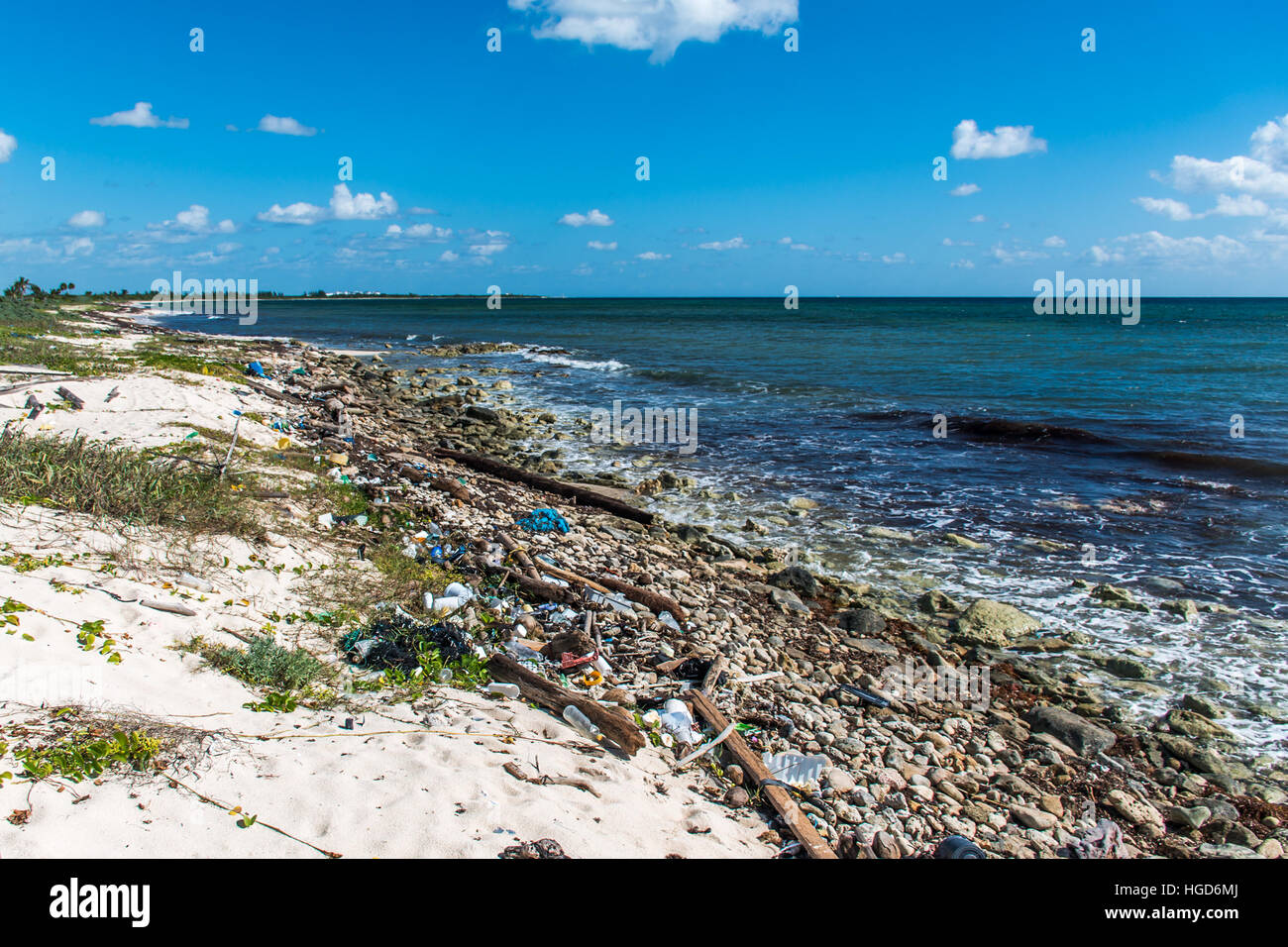 Mexico Coastline ocean Pollution Problem with plastic litter 6 - Stock Image