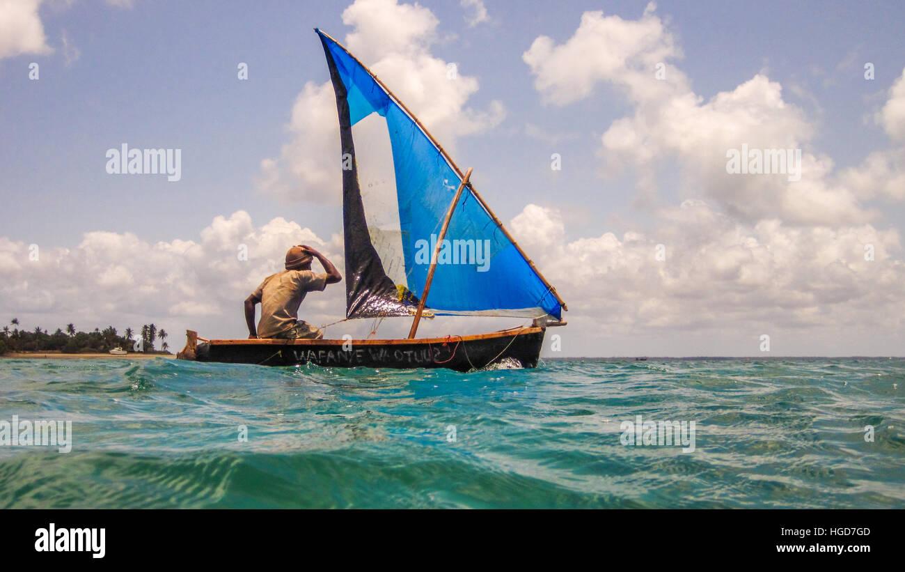 Fishing Boat, Mafia Island, Tanzania - Stock Image