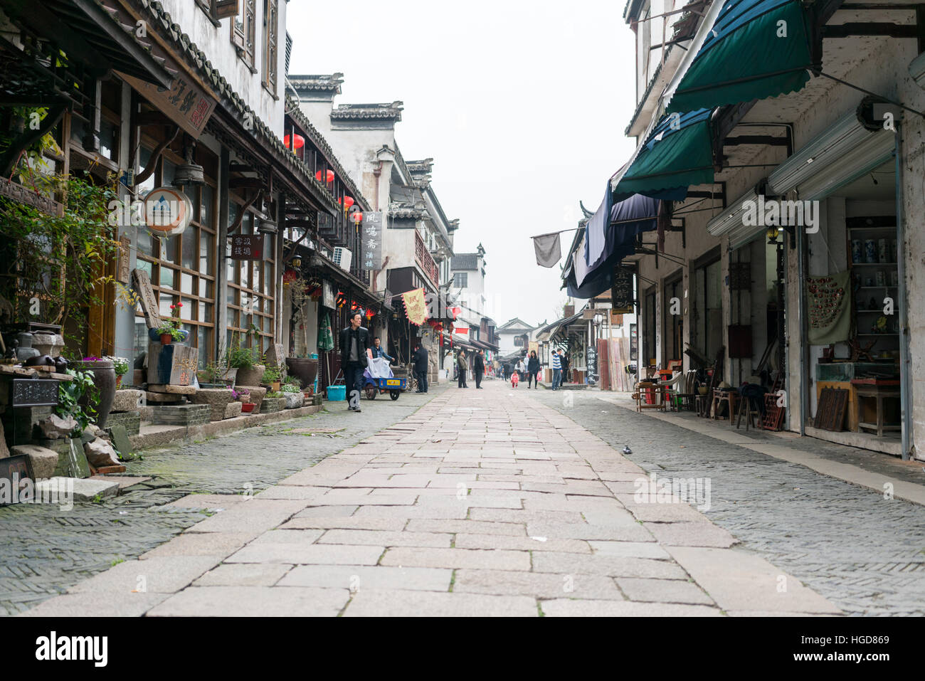 street in traditional chinese town - Stock Image