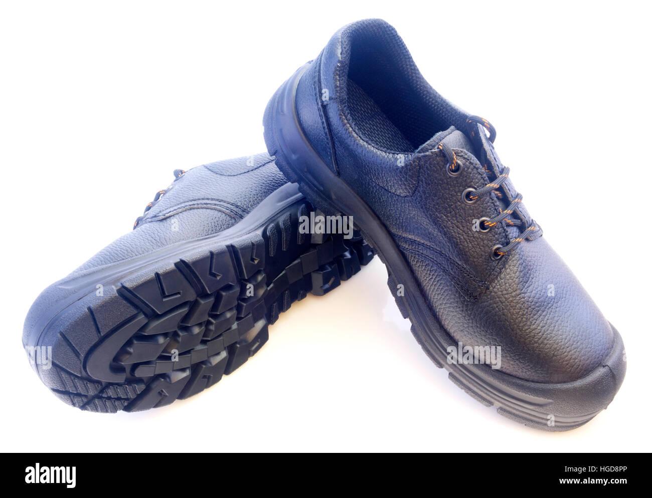 New black mans leather shoes isolated on white background - Stock Image