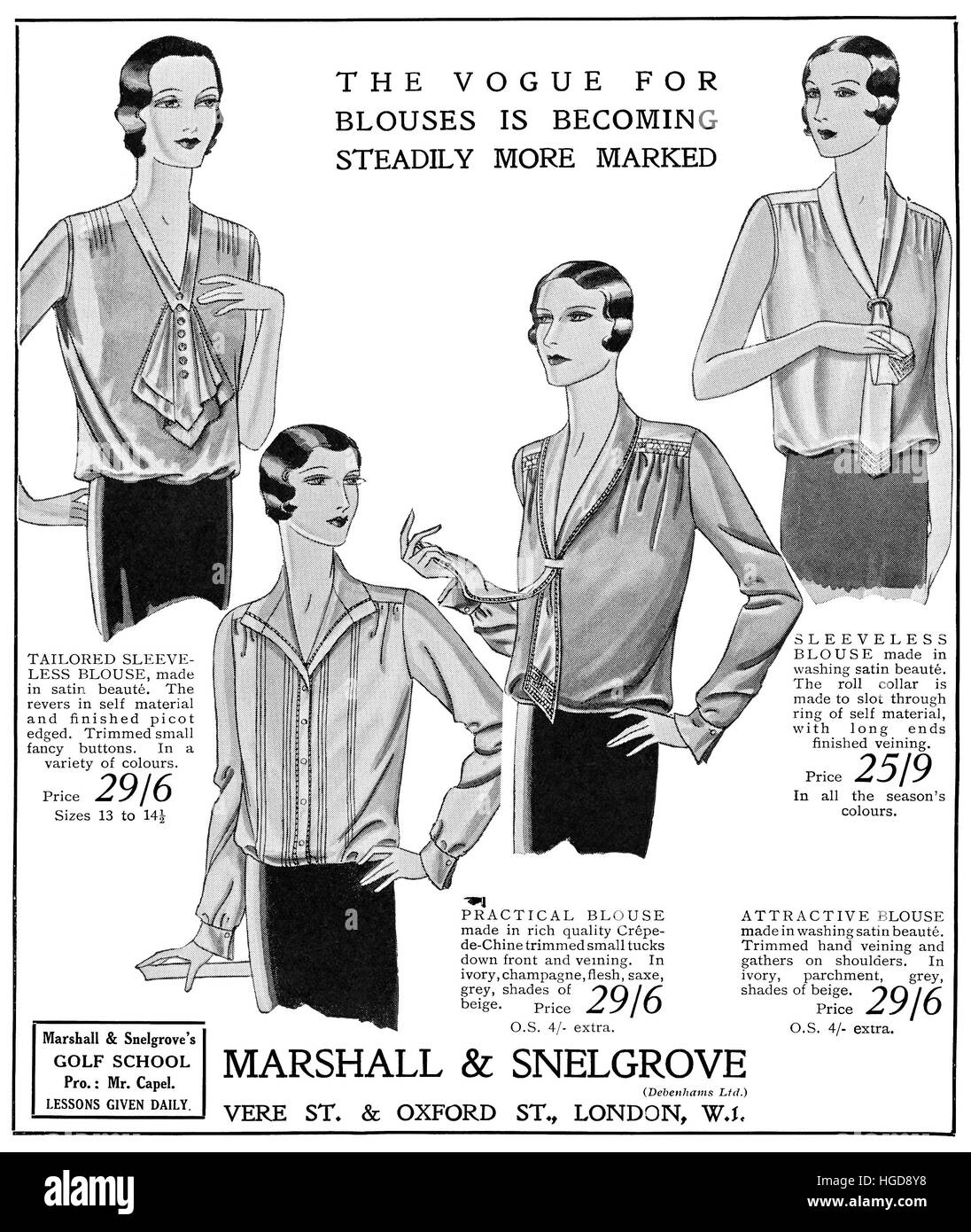 1930 British advertisement for Marshall & Snelgrove Department Stores - Stock Image