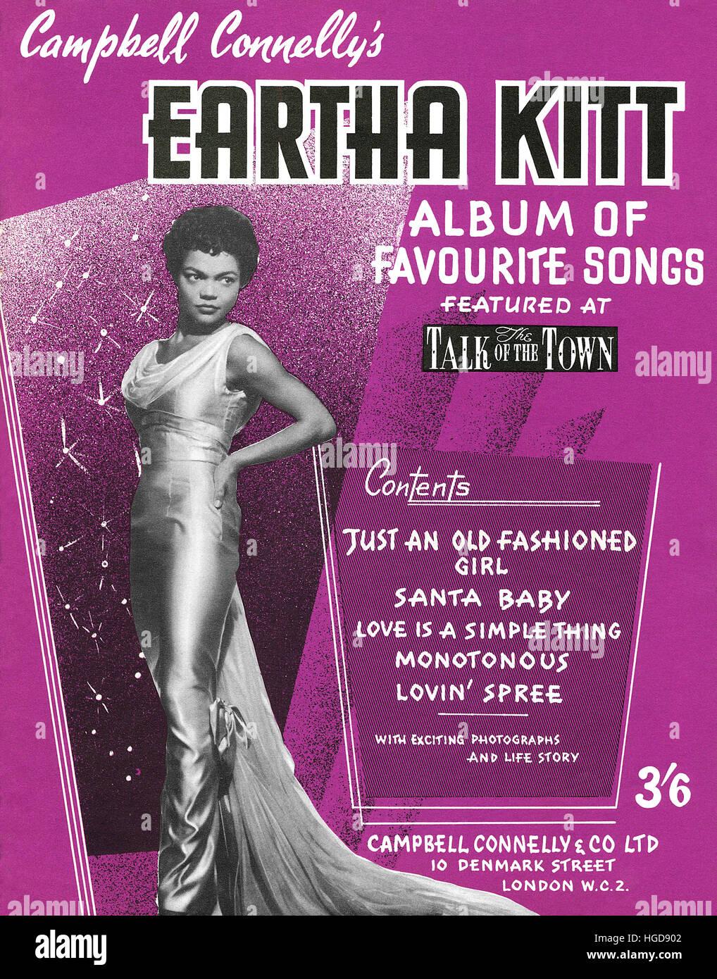 From cover of a 1950s sheet music album of Eartha Kitt songs Stock