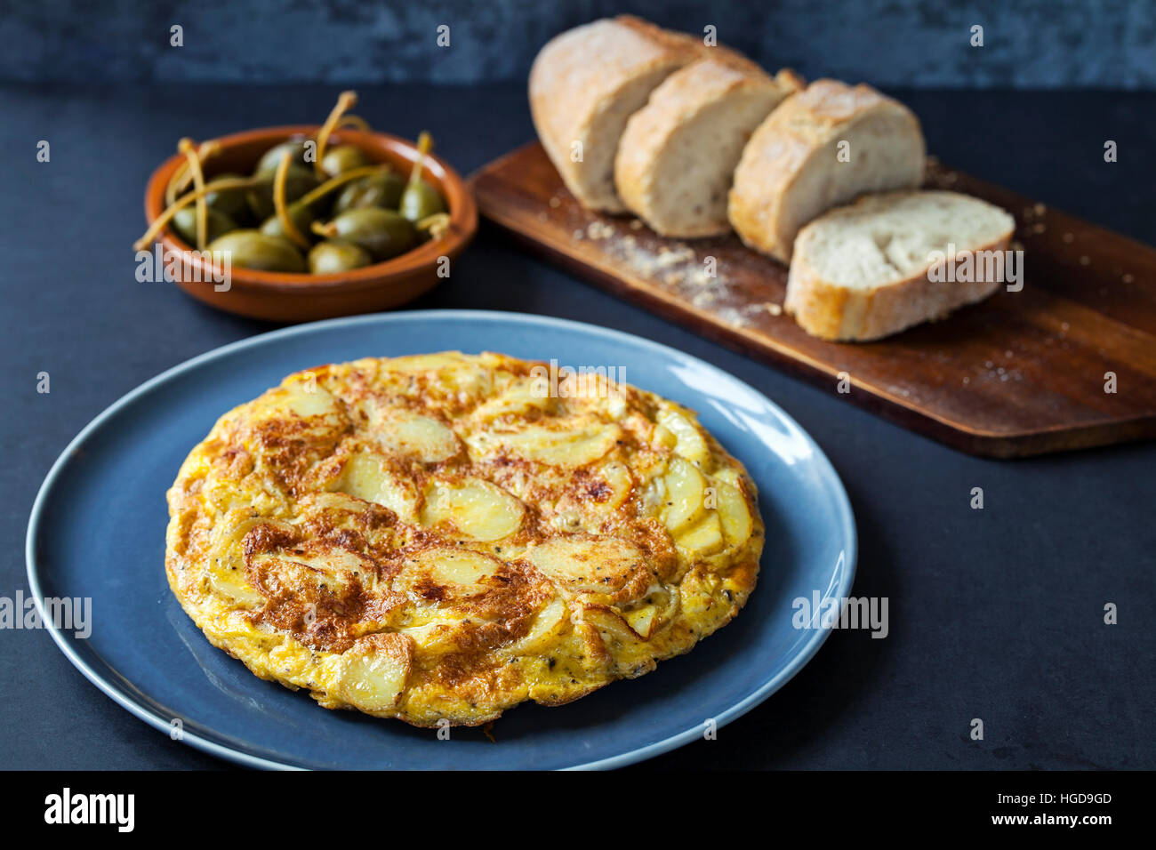 Authentic Spanish tapas with  traditional tortilla and caperberries - Stock Image