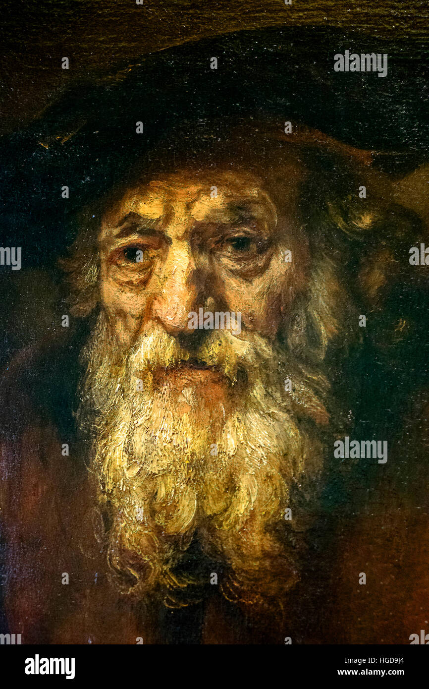 Portrait of an old Jew Rembrandt The Hermitage St. Petersburg - Stock Image