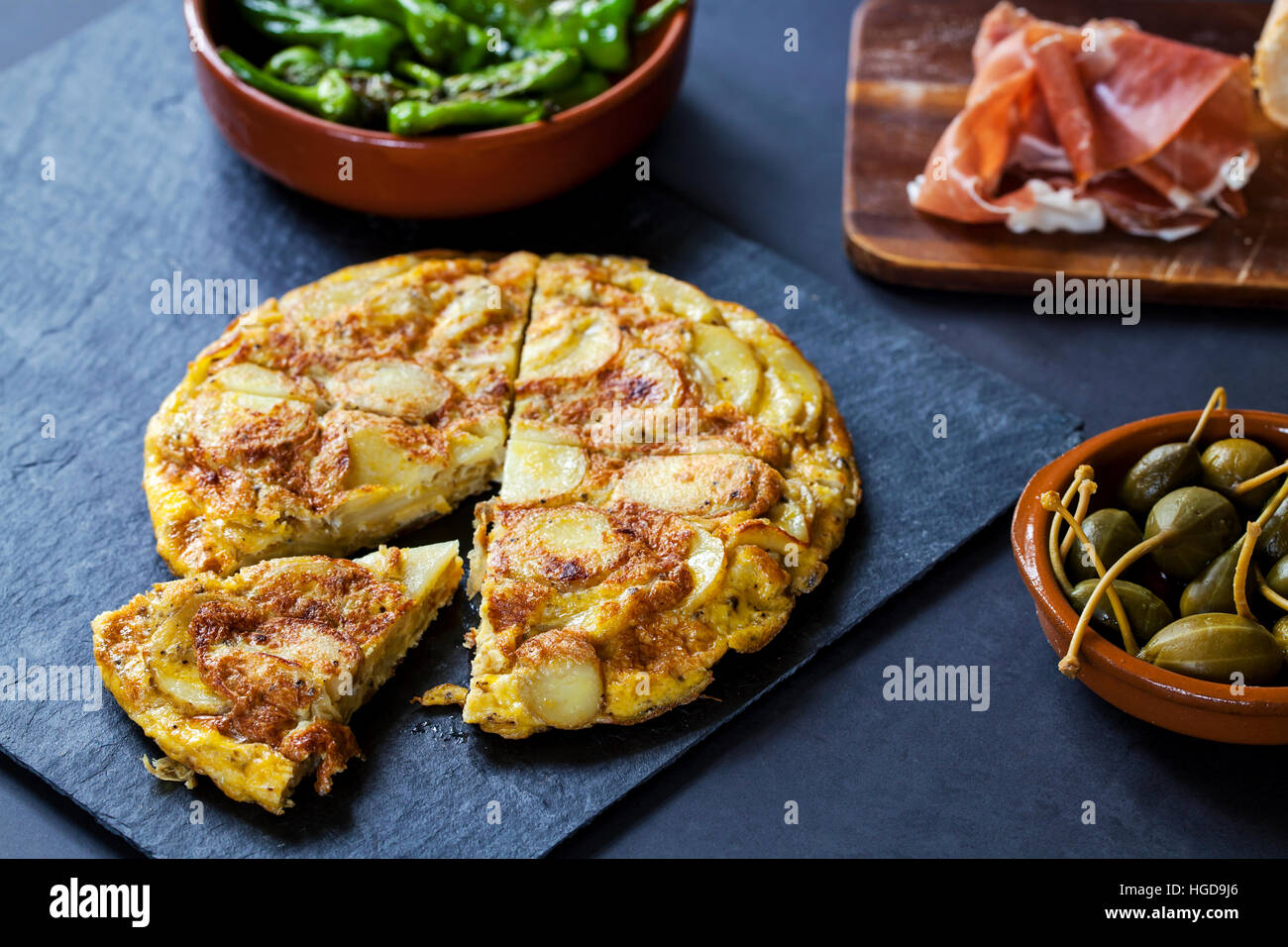 Authentic Spanish tapas with  traditional tortilla - Stock Image