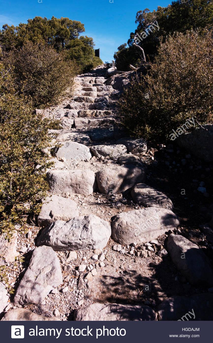 Rock steps on Massai Point Nature Trail, Chiricahua National Monument, Arizona Stock Photo
