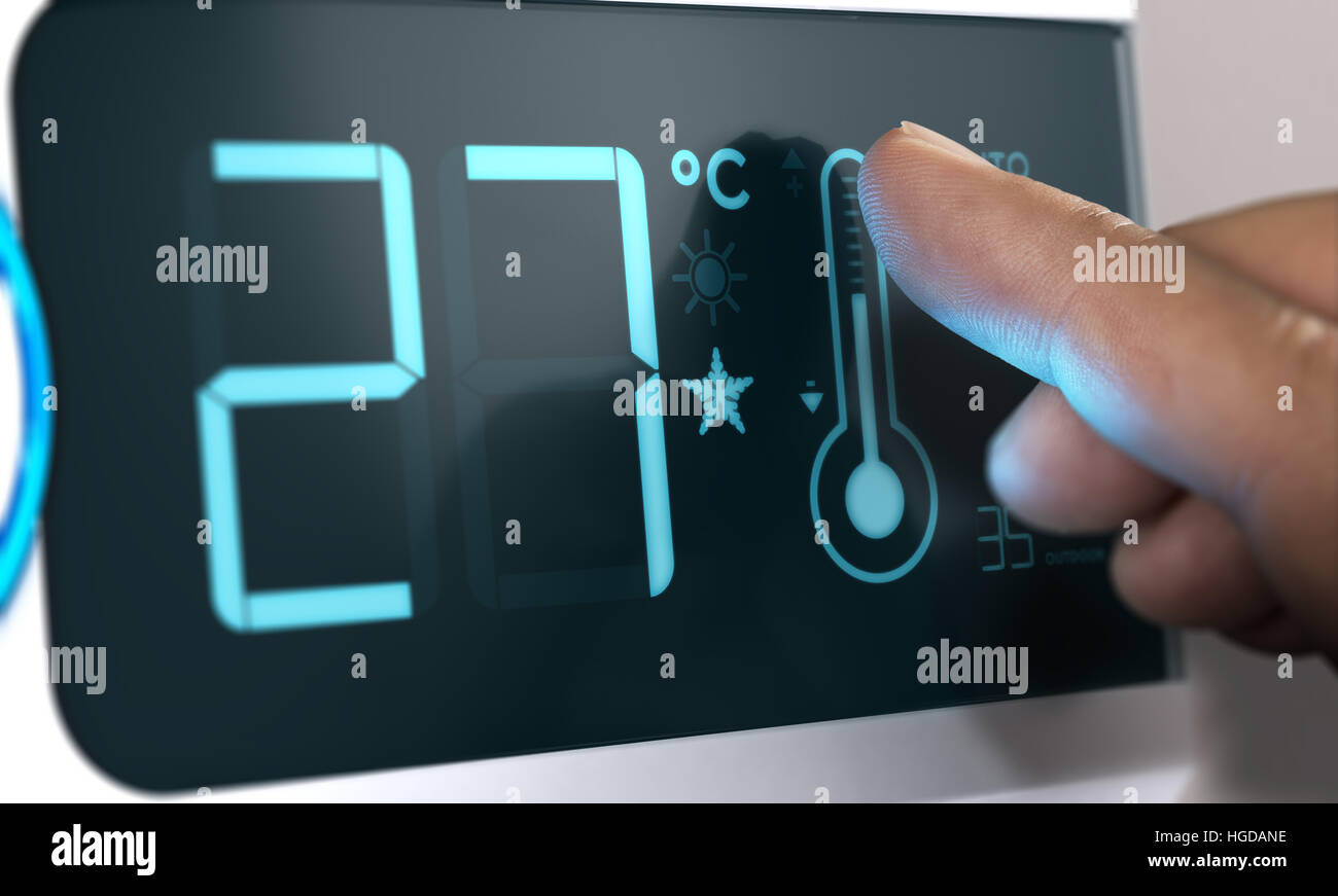 Air Conditioner Temperature Control. Finger pressing the thermometer icon on the scrren, Celsius unit. Home Automation - Stock Image