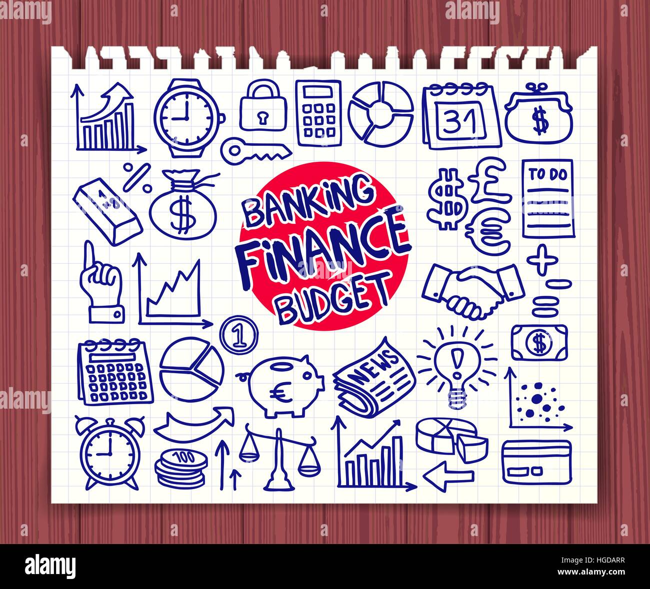doodle finance banking and budget icons set hand drawn doodle
