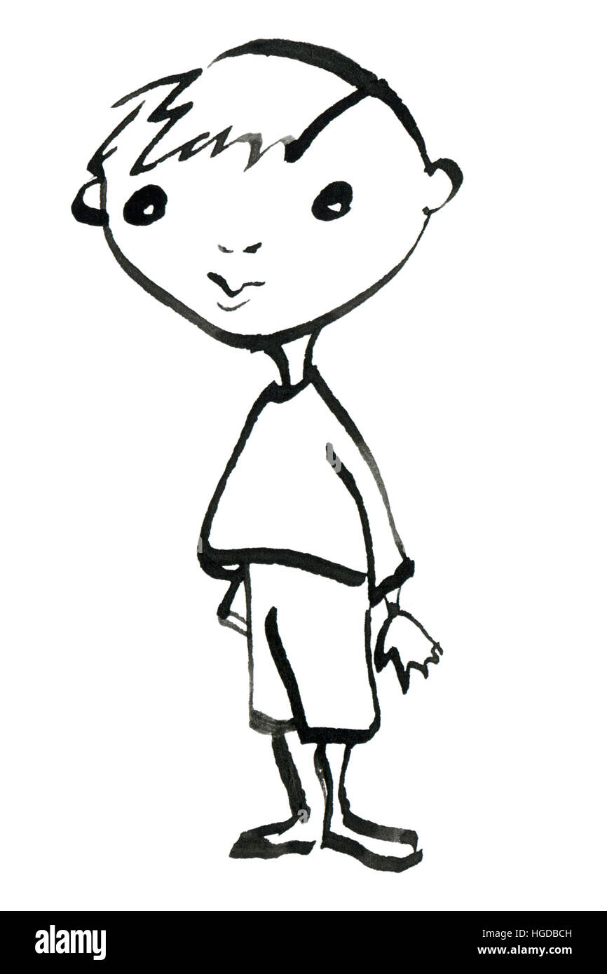 Hand painted sketch of little boy isolated on white background, black and white illustration - Stock Image