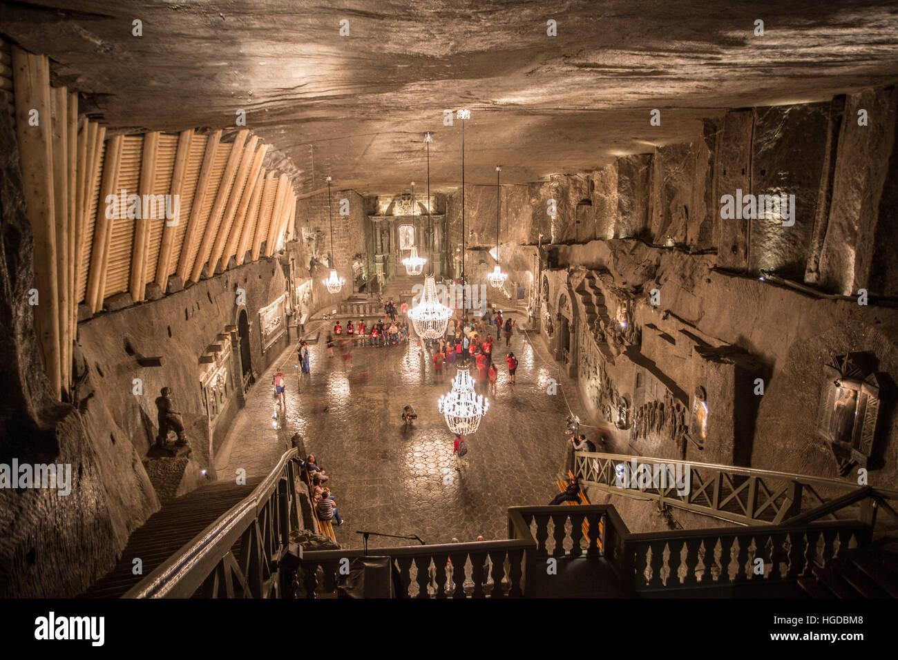 Salt Mines in Wielizka, Poland - Stock Image