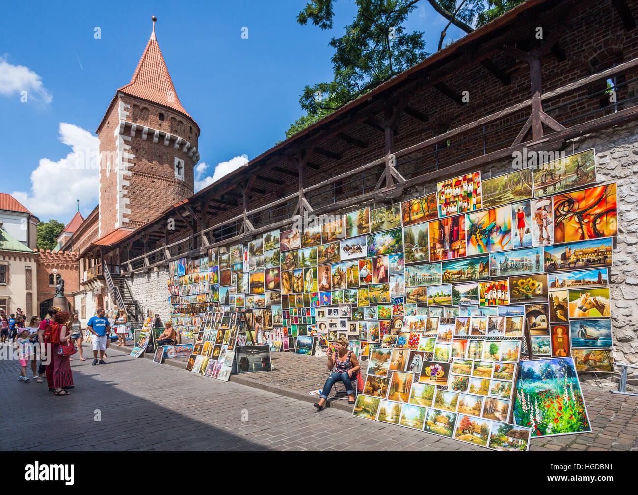 city walls in Krakow - Stock Image