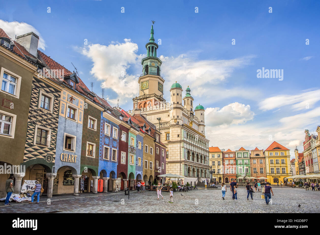 Poland, Poznan City, Stary Rynek, Town Hall Building, Picturesque houses, Old Town Square - Stock Image
