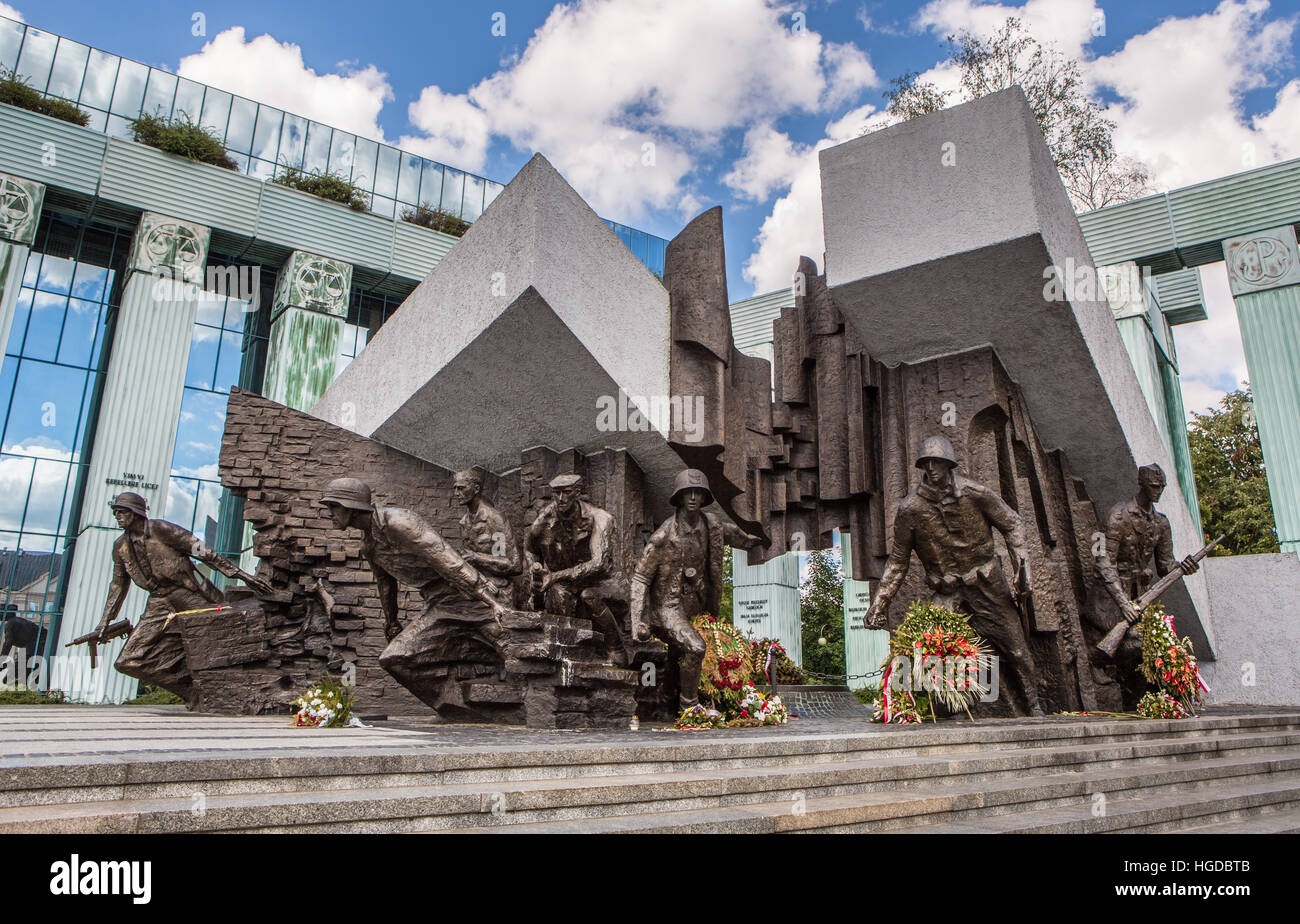 the Warsaw uprising heroes Monument - Stock Image