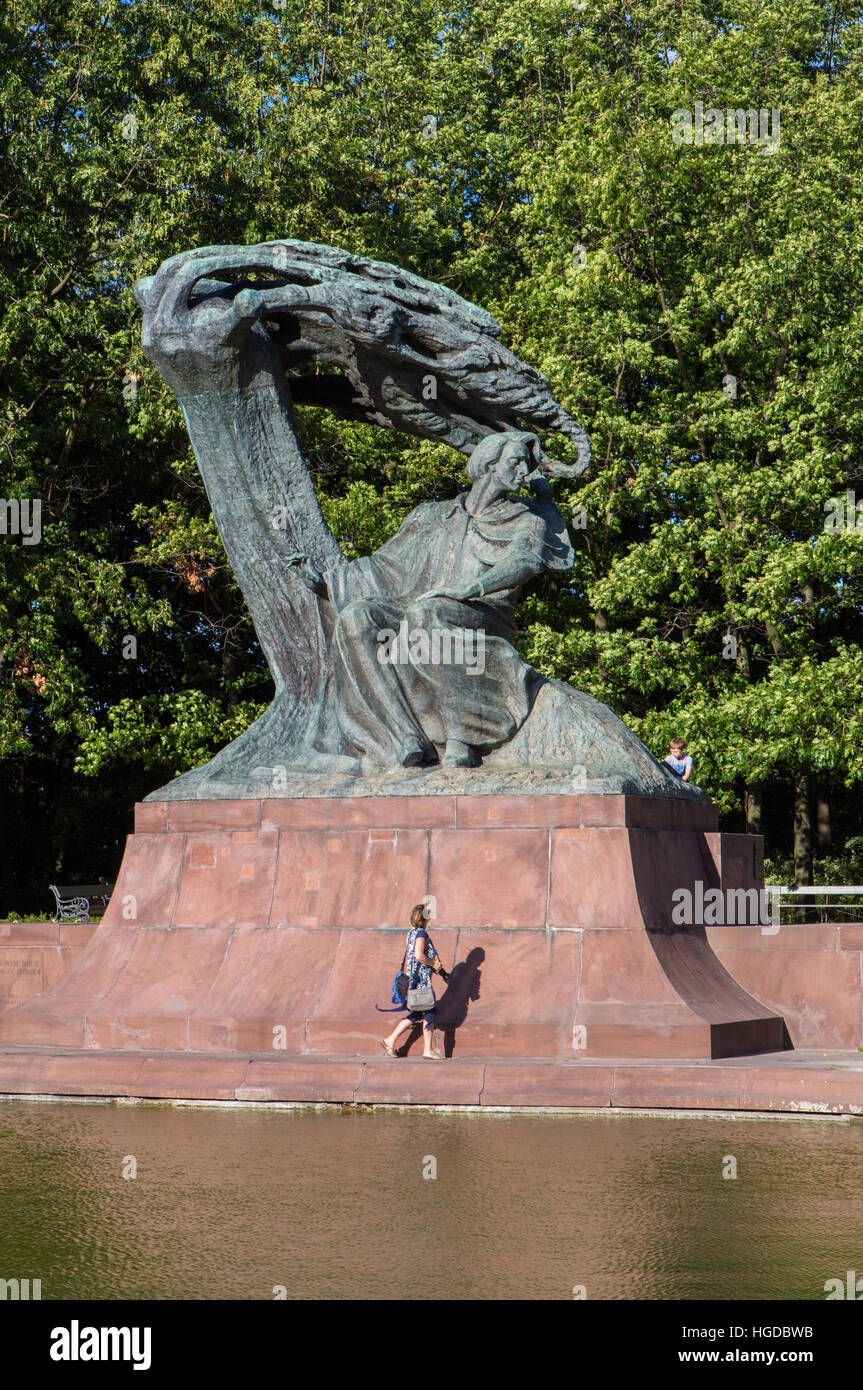 Chopin Monument in Warsaw City - Stock Image