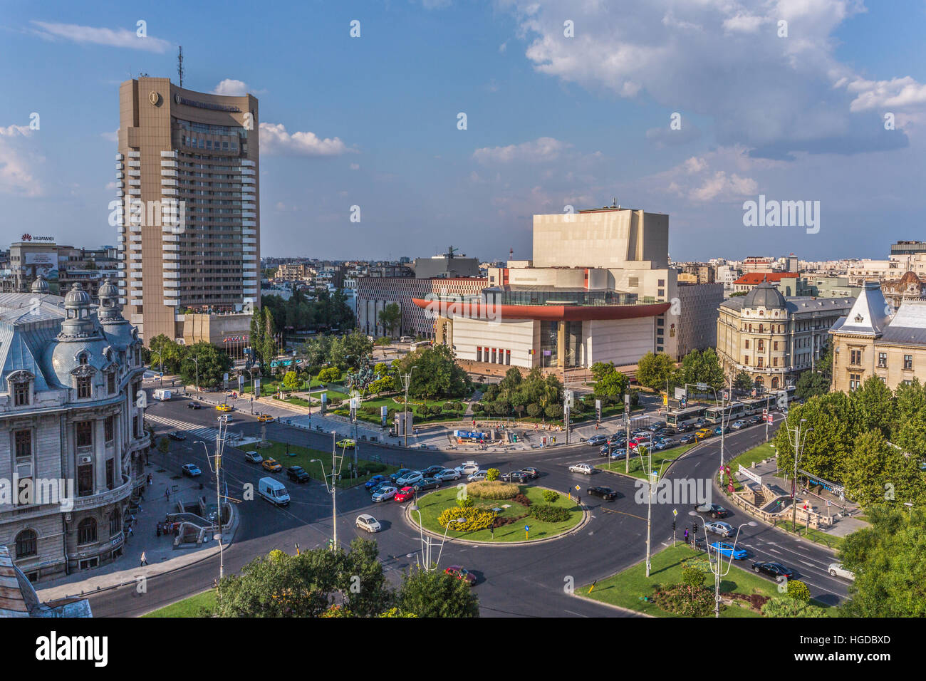 Romania, Bucharest City, University Square, National Theatre and Intercontinental Hotel - Stock Image