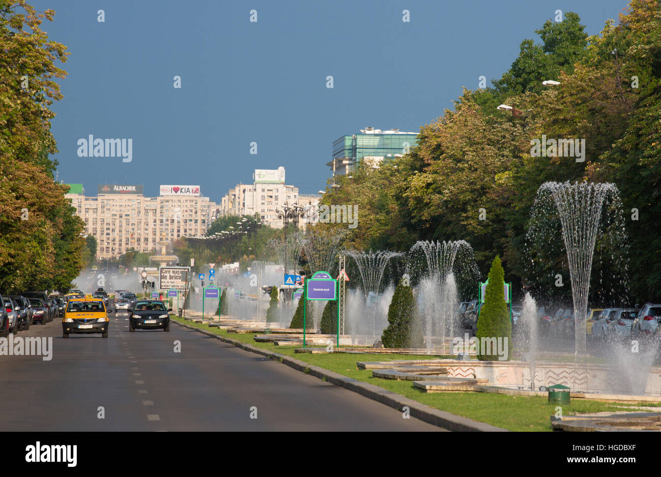 Romania, Bucharest City, Unirii Boulevard. - Stock Image