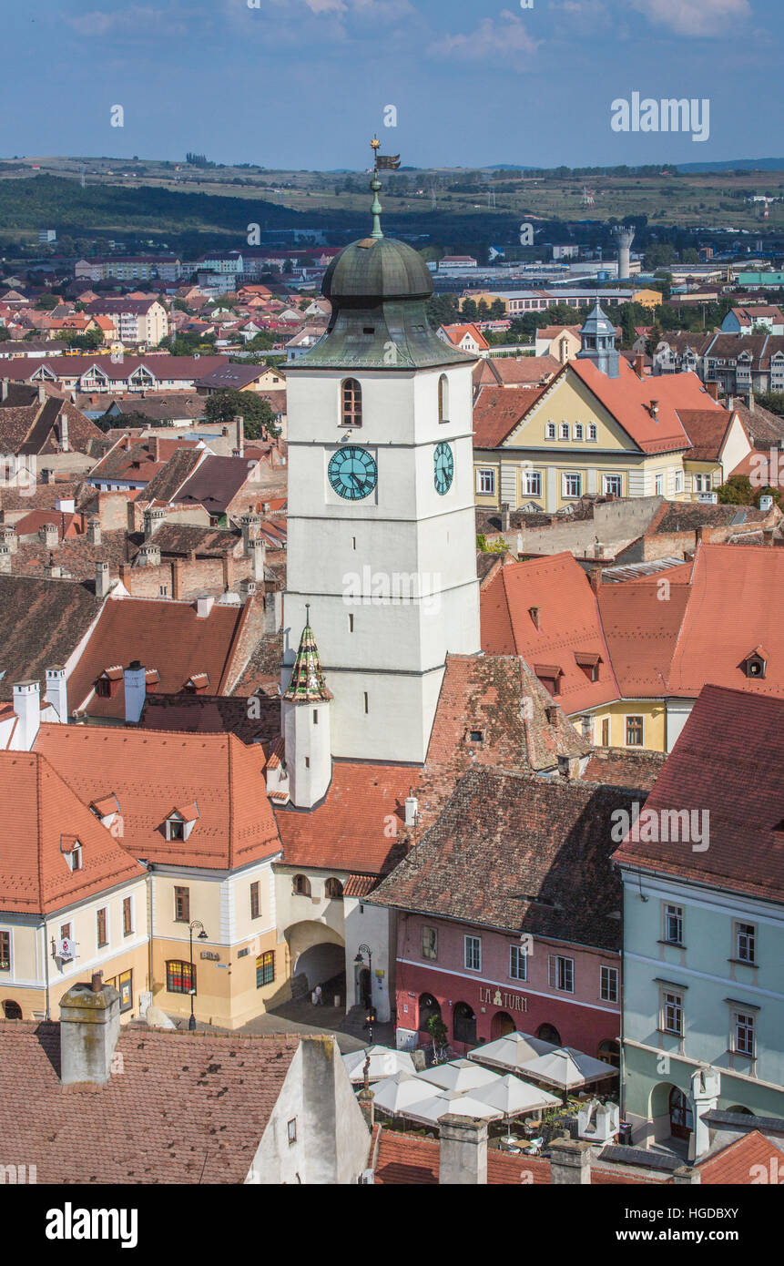Romania, Sibiu City, Old Town, Sfatului Tower Stock Photo