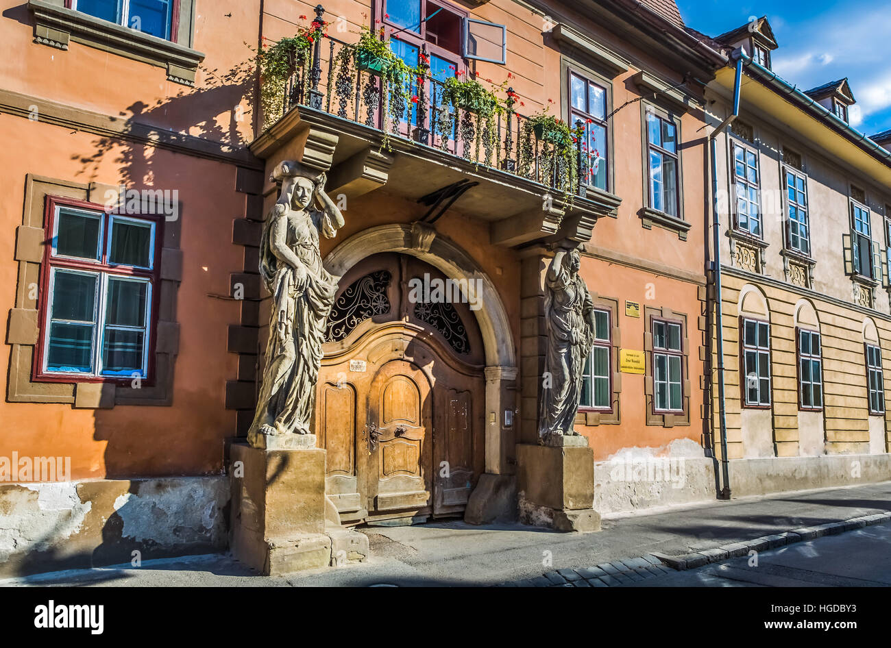 Romania, Sibiu City, Old Town street - Stock Image