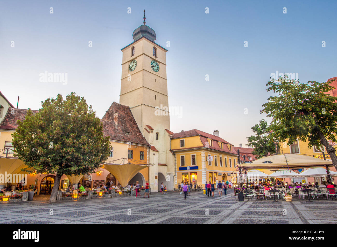 Romania, Sibiu City, Mare Square, Sfatului Tower - Stock Image