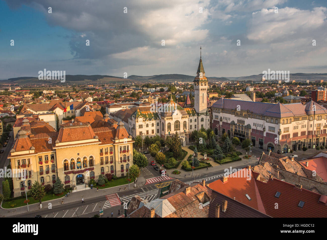 Romania, Romania, Targu Mures City, City Hall, Prefecture building and Culture Palace - Stock Image