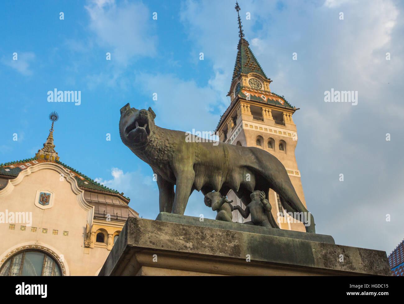 Romania, Targu Mures City, Romulus and Remus Monument, - Stock Image