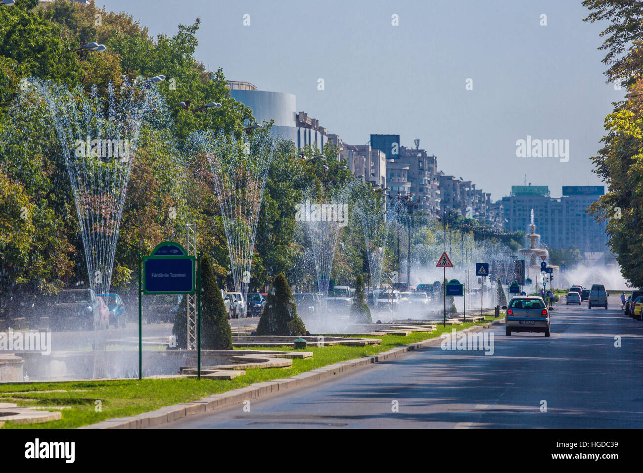 Romania, Bucharest City, Unirii Boulevard - Stock Image