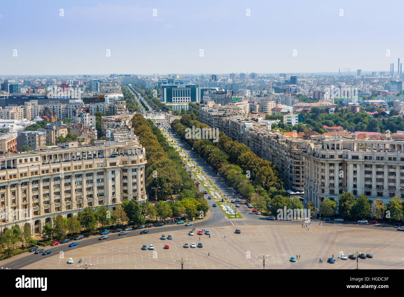 Romania, Bucharest City, Unirii Boulevard from Parliament building - Stock Image