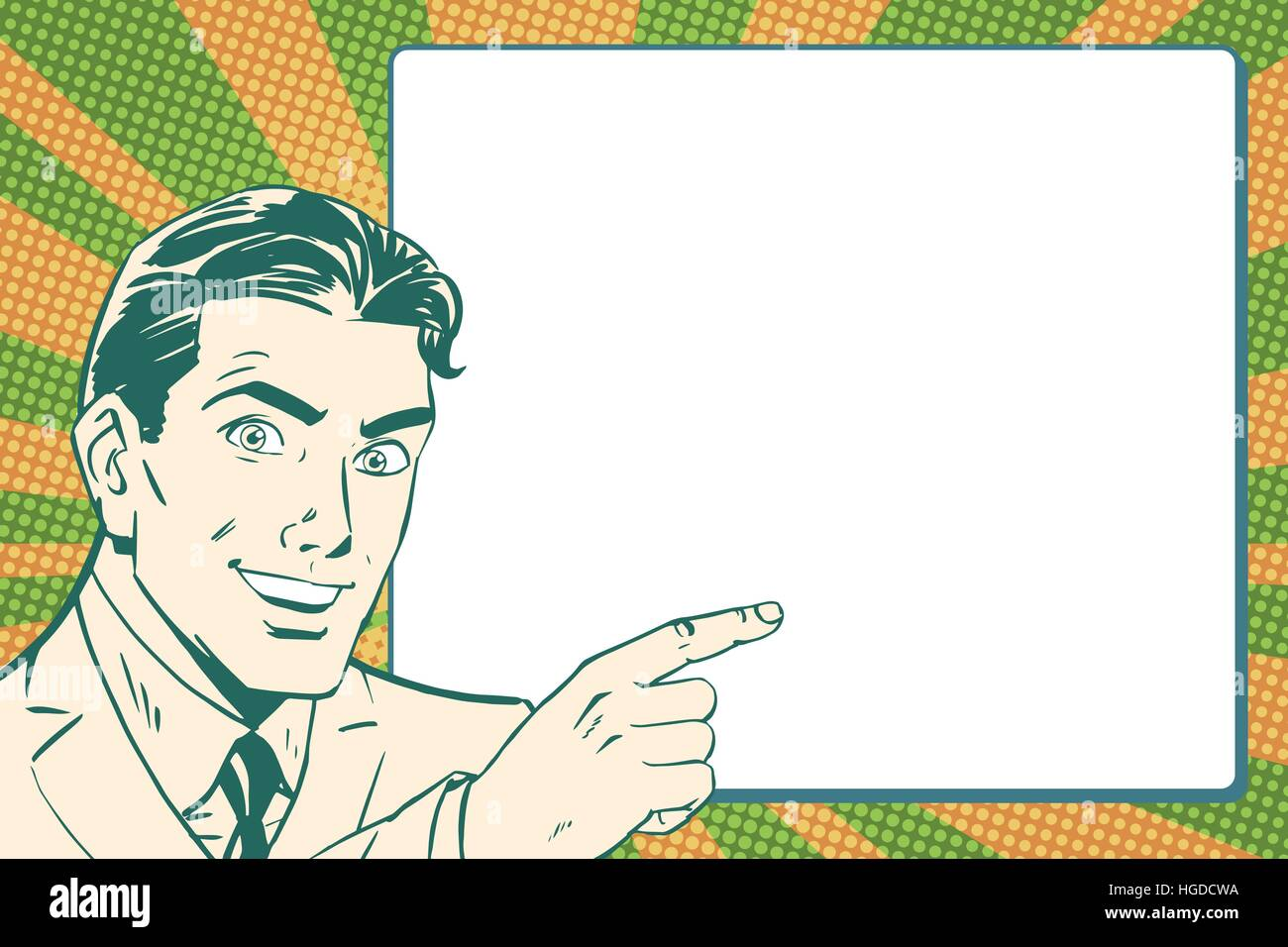 Retro pop art businessman points to the poster - Stock Vector