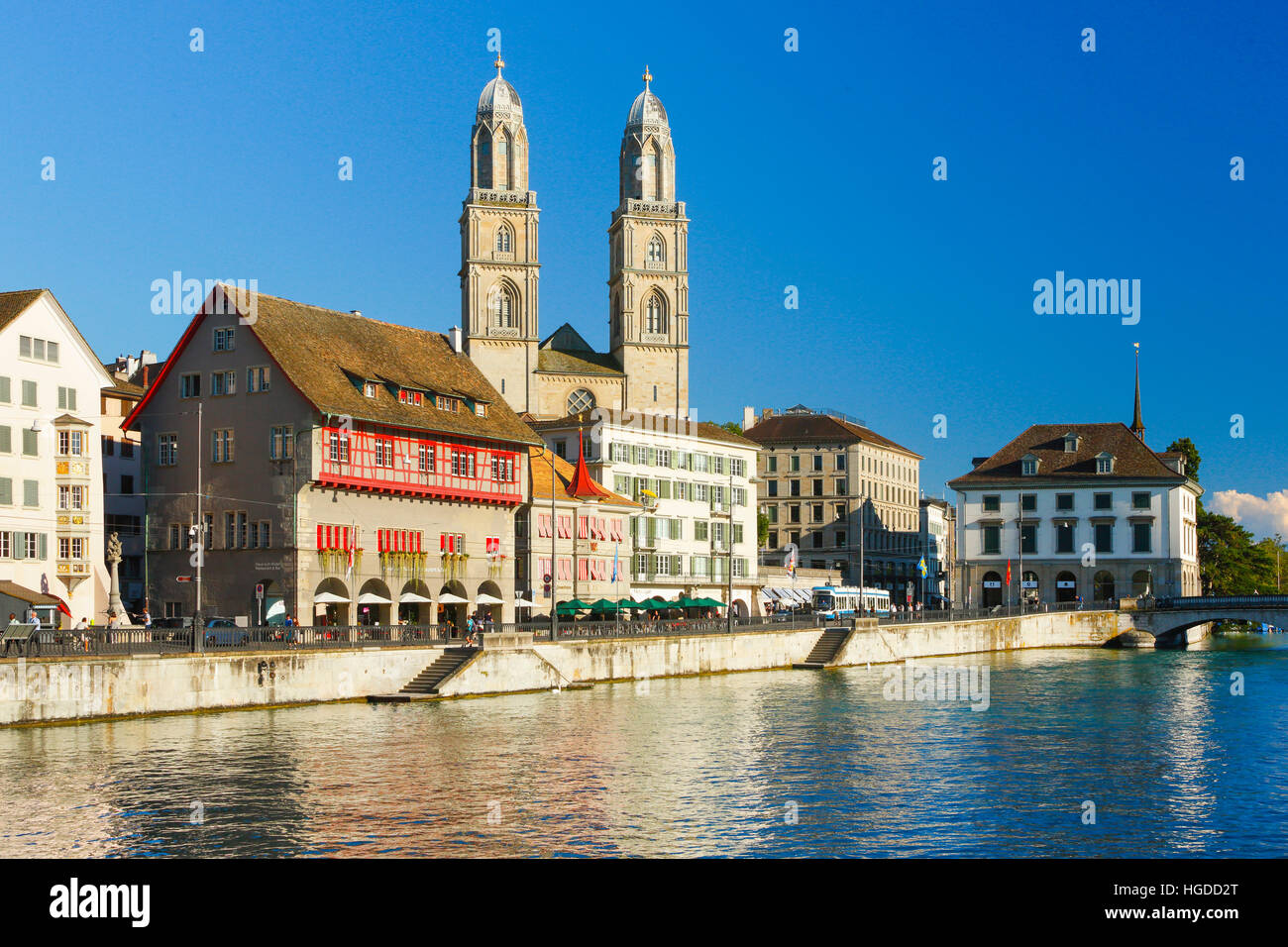 Grossmünster church in Zurich city, Switzerland - Stock Image