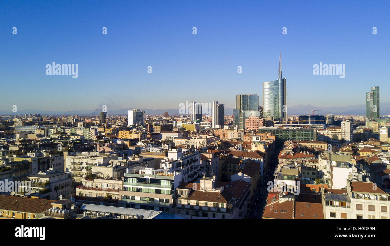 Aerial view of the center of Milan, panoramic view of the Unicredit tower, Milan, Porta Nuova residences and skyscrapers, Stock Photo