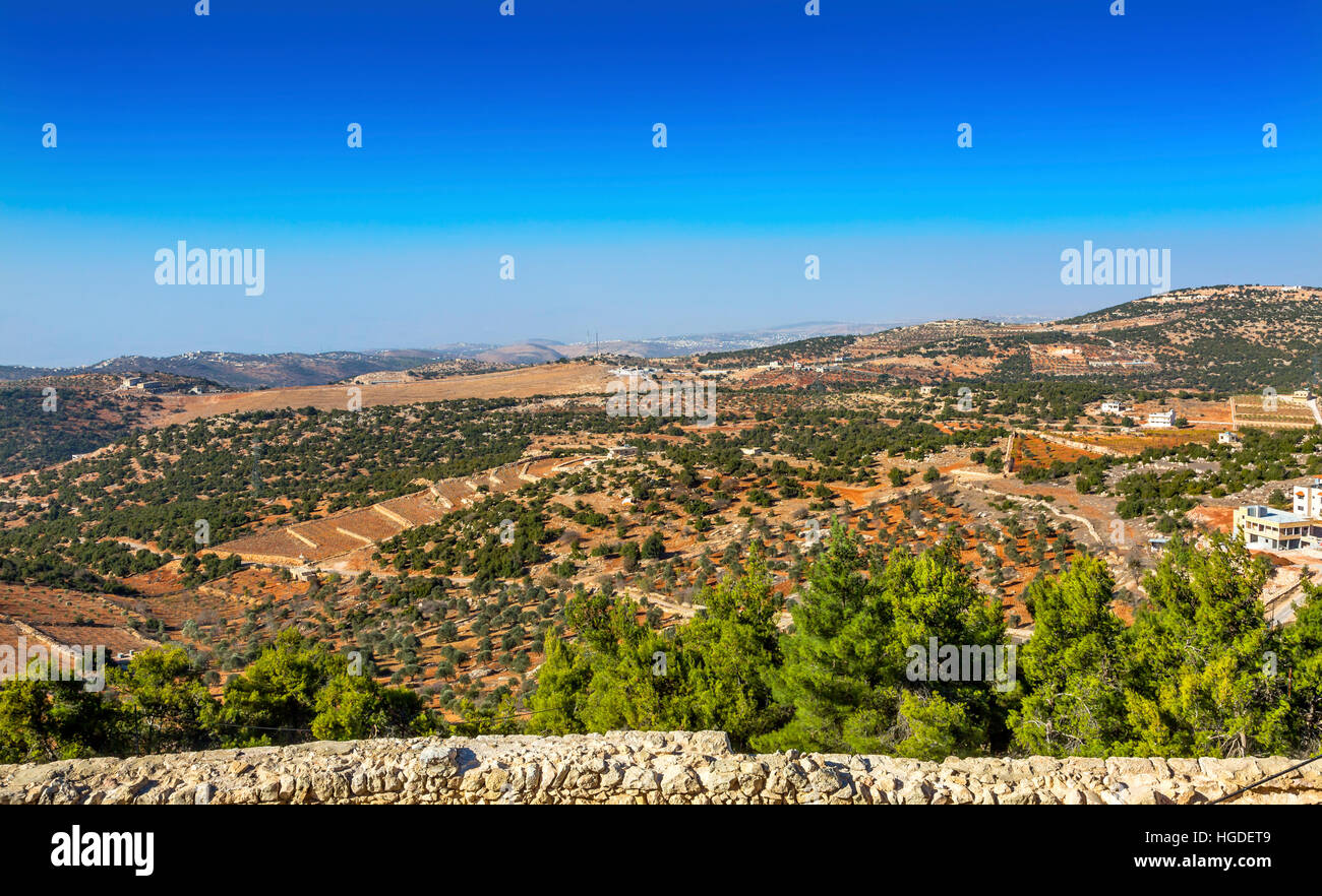 View From Qalat ar-Rabid Ancient Arabic Fortress Castle Ajlun Jordan.  Ancient Arabic Castle built in 1184-1185 - Stock Image