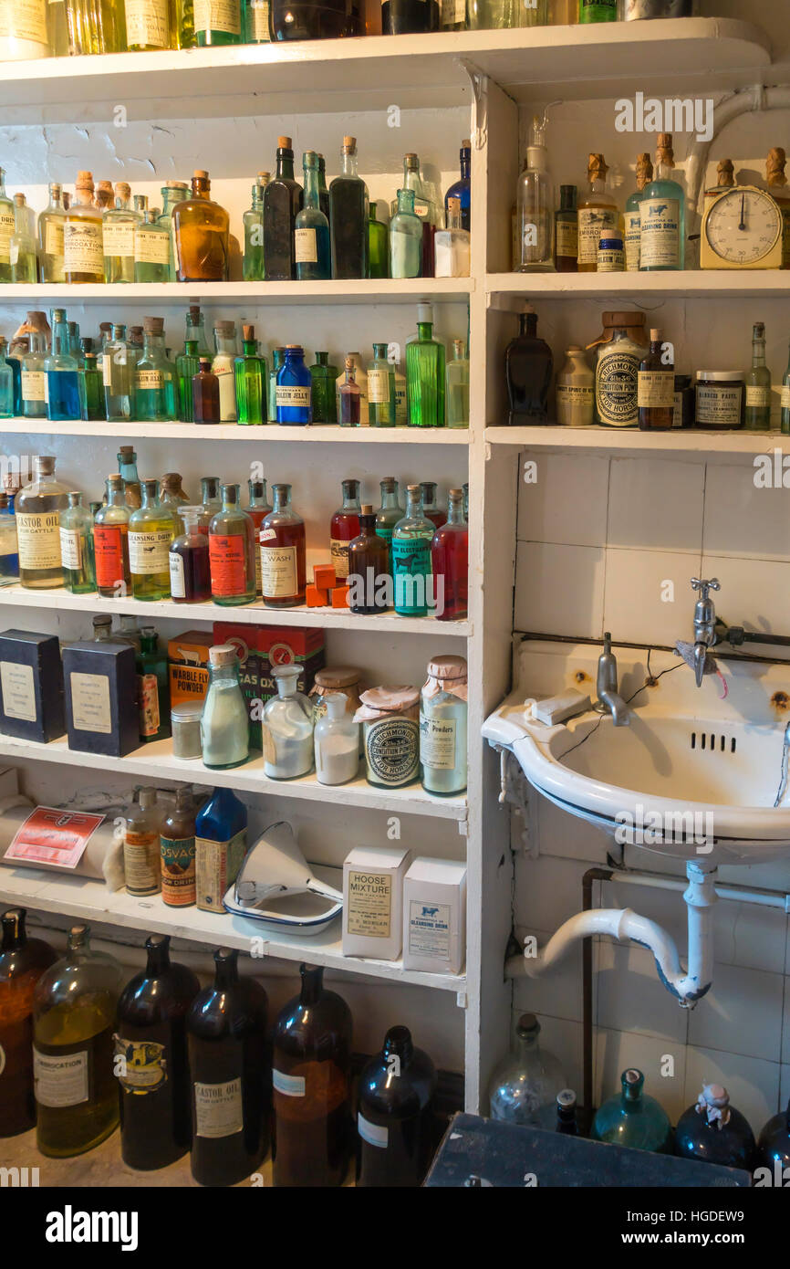 Display in the James Herriot museum showing the dispensary of the fictional veterinary practice in the early 1950s. - Stock Image