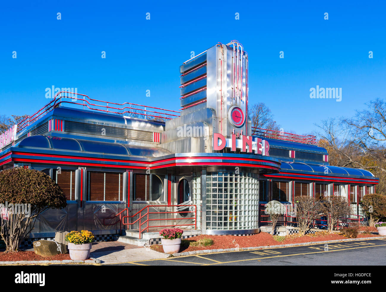 Traditional American Diner, Hyde Park, New York State, USA - Stock Image