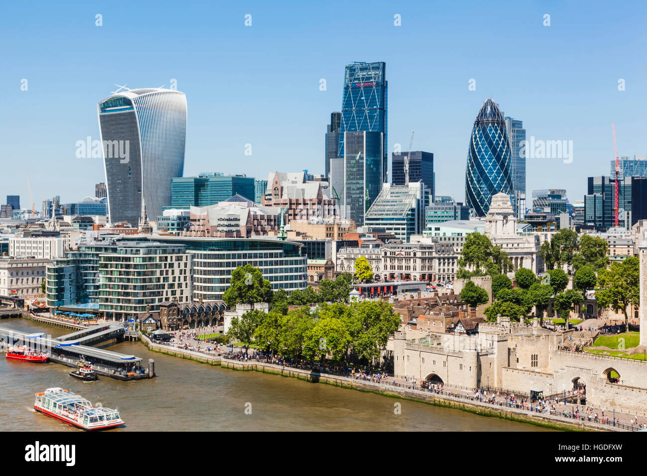 England, London, City Skyline and Thames River from Tower Bridge - Stock Image