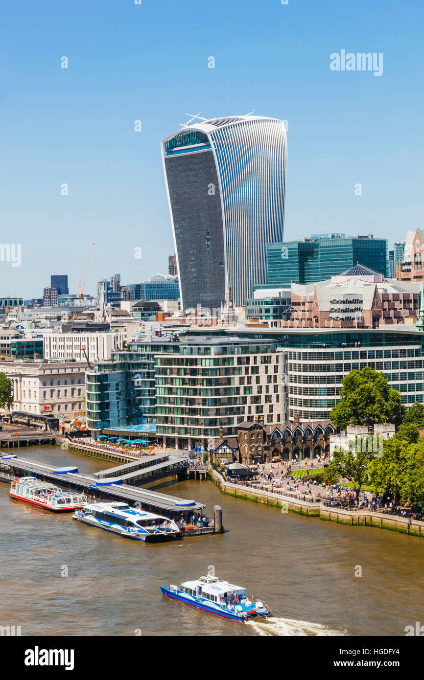 England, London, Walkie Talkie Building and City Skyline - Stock Image