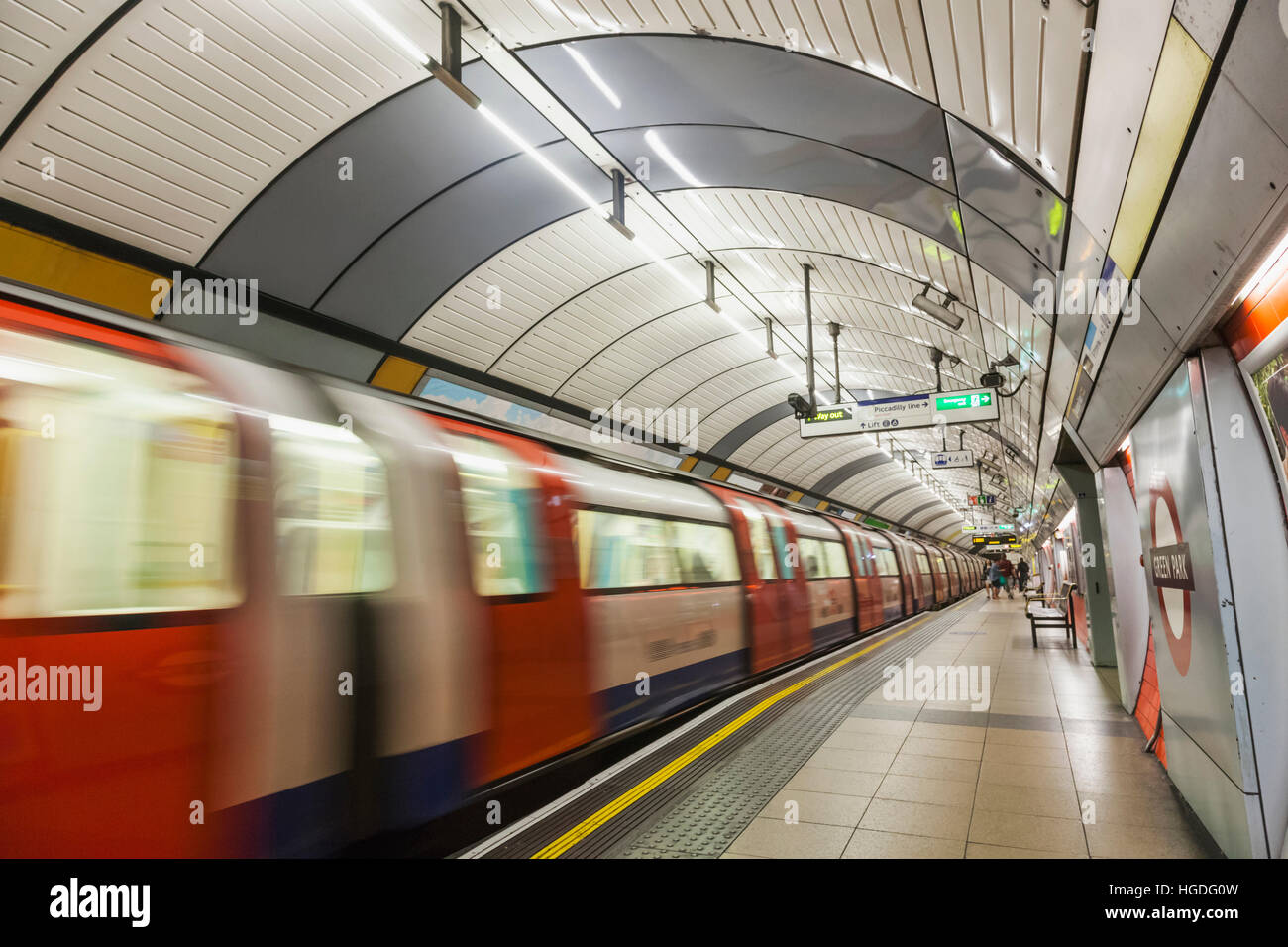 England, London, Subway Station and Train - Stock Image