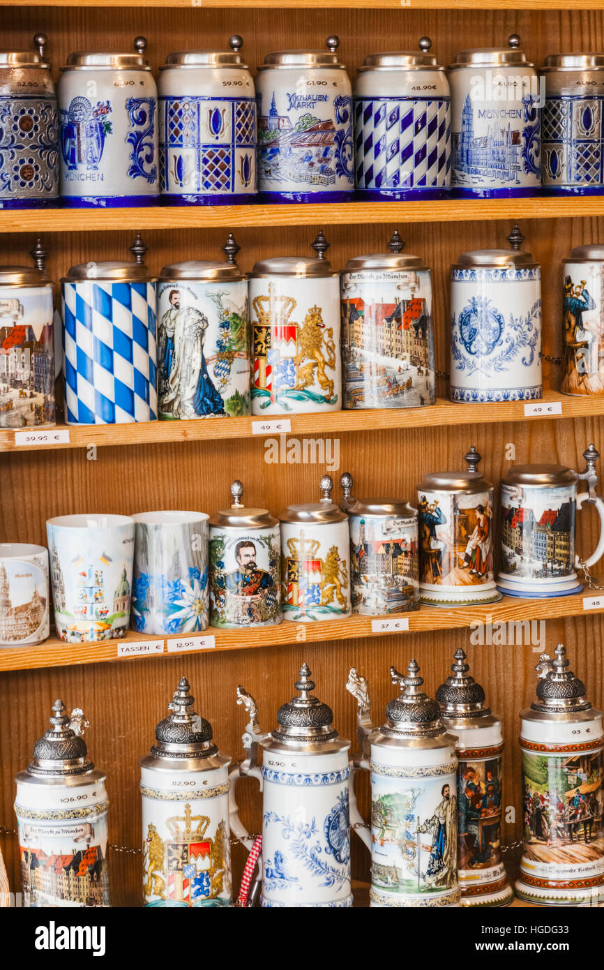 Germany, Bavaria, Munich, Souvenir Shop Display of Beer Steins - Stock Image