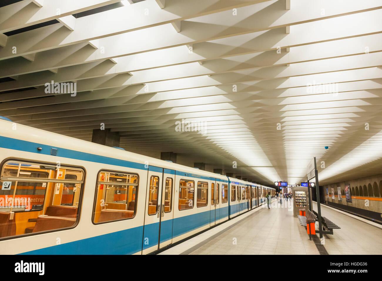 Germany, Bavaria, Munich, Subway, Subway Platform and Train - Stock Image