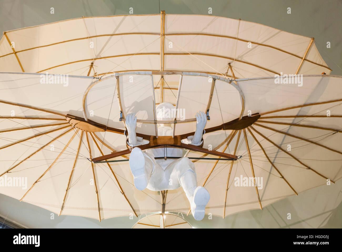 Germany, Bavaria, Munich, Deutsches Museum, Exhibit of Lilienthal Biplane Glider - Stock Image