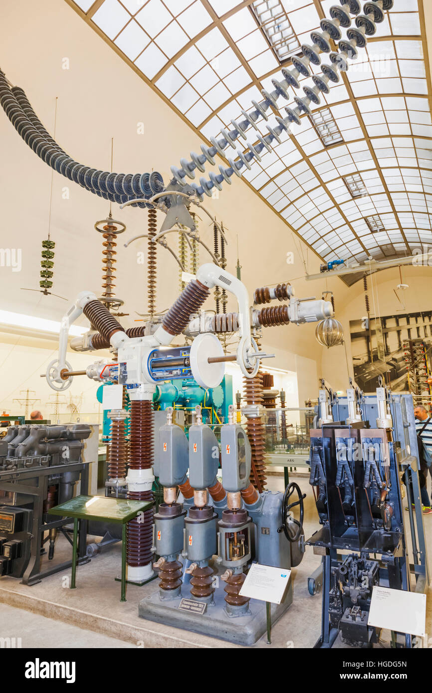 Germany, Bavaria, Munich, Deutsches Museum, Exhibit of Electrical Transformers - Stock Image