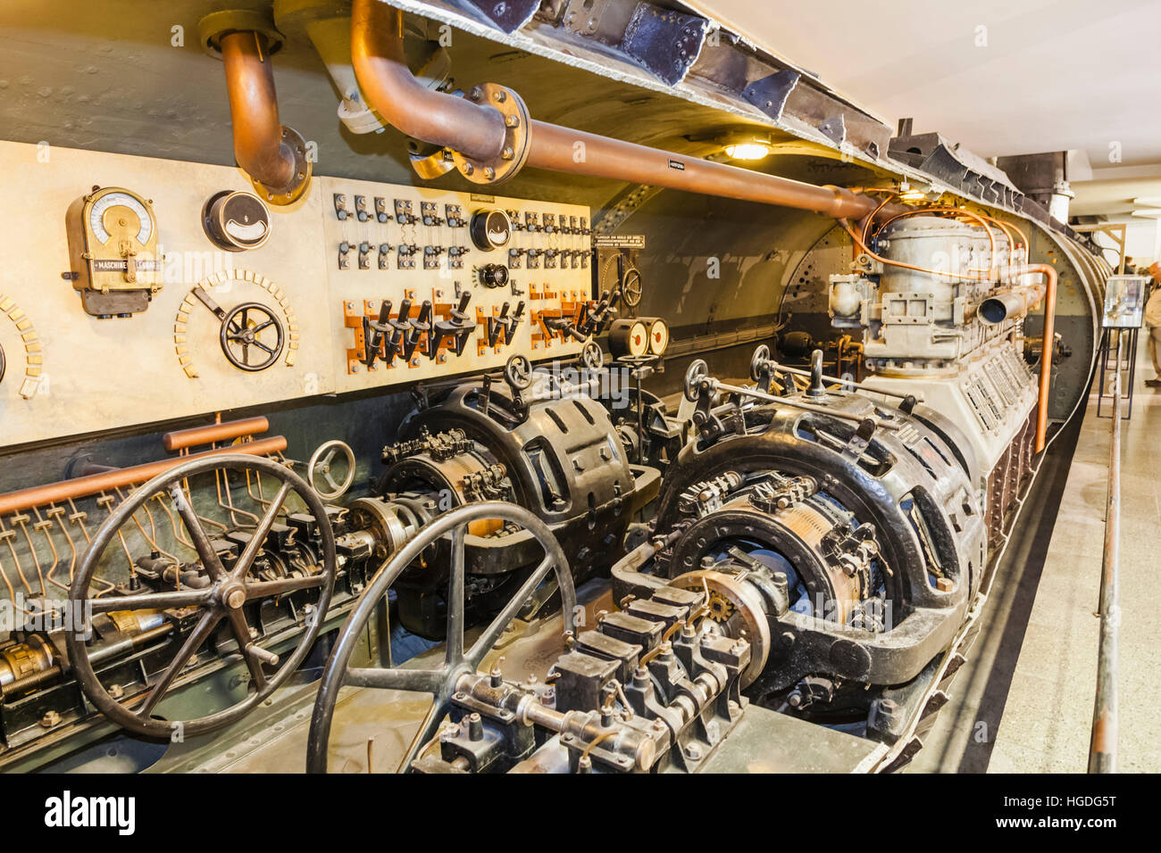 Germany, Bavaria, Munich, Deutsches Museum, Exhibit of WWII U-boat - Stock Image