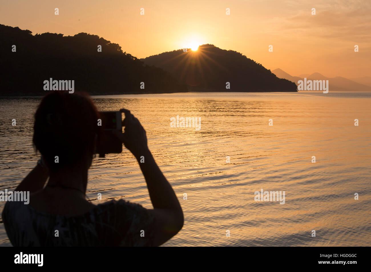 Sundown in Sipanska Luka, - Stock Image