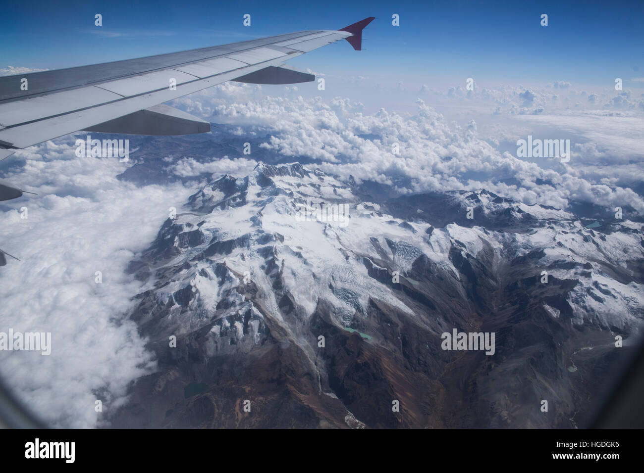 Cordillera Real near La Paz with Ancohuma 6520 ms, - Stock Image