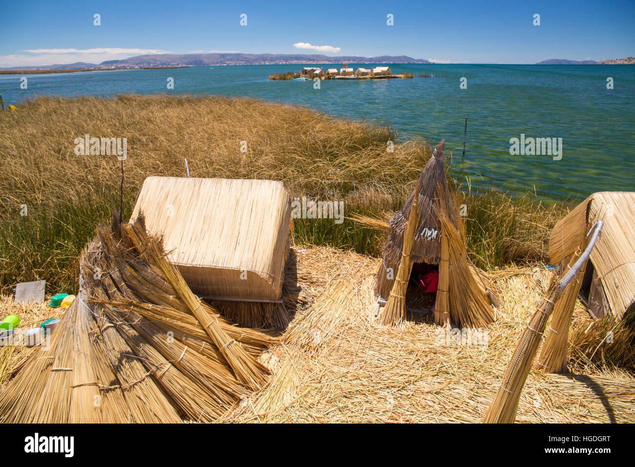 Uros, reed island, lake Titicaca, - Stock Image