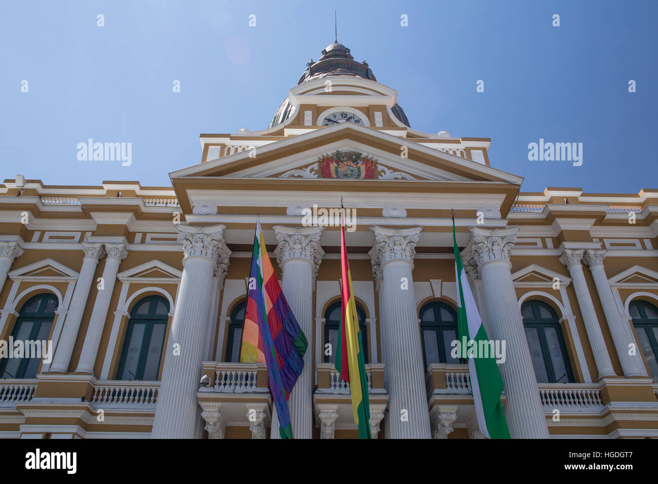 Town hall ofLa Paz with reverse clock - Stock Image