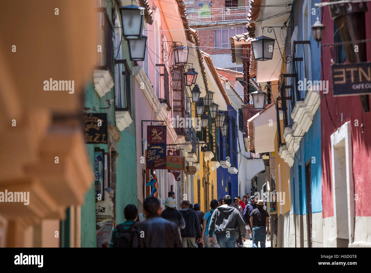 Colonial quarter Calle Apolinar Jean in La Paz, - Stock Image