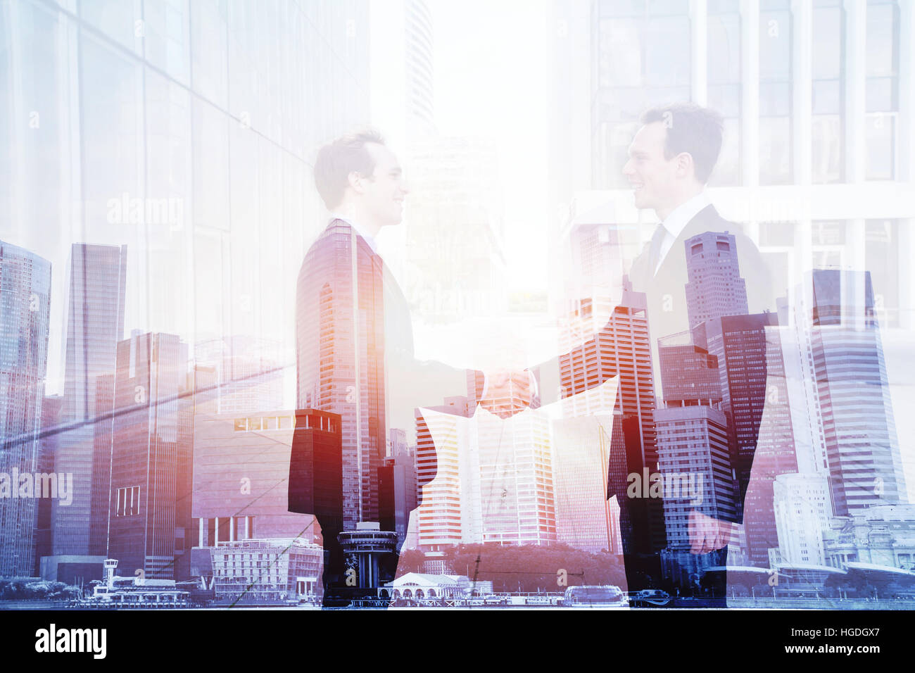 business deal, handshake double exposure, cooperation concept, agreement of two companies - Stock Image