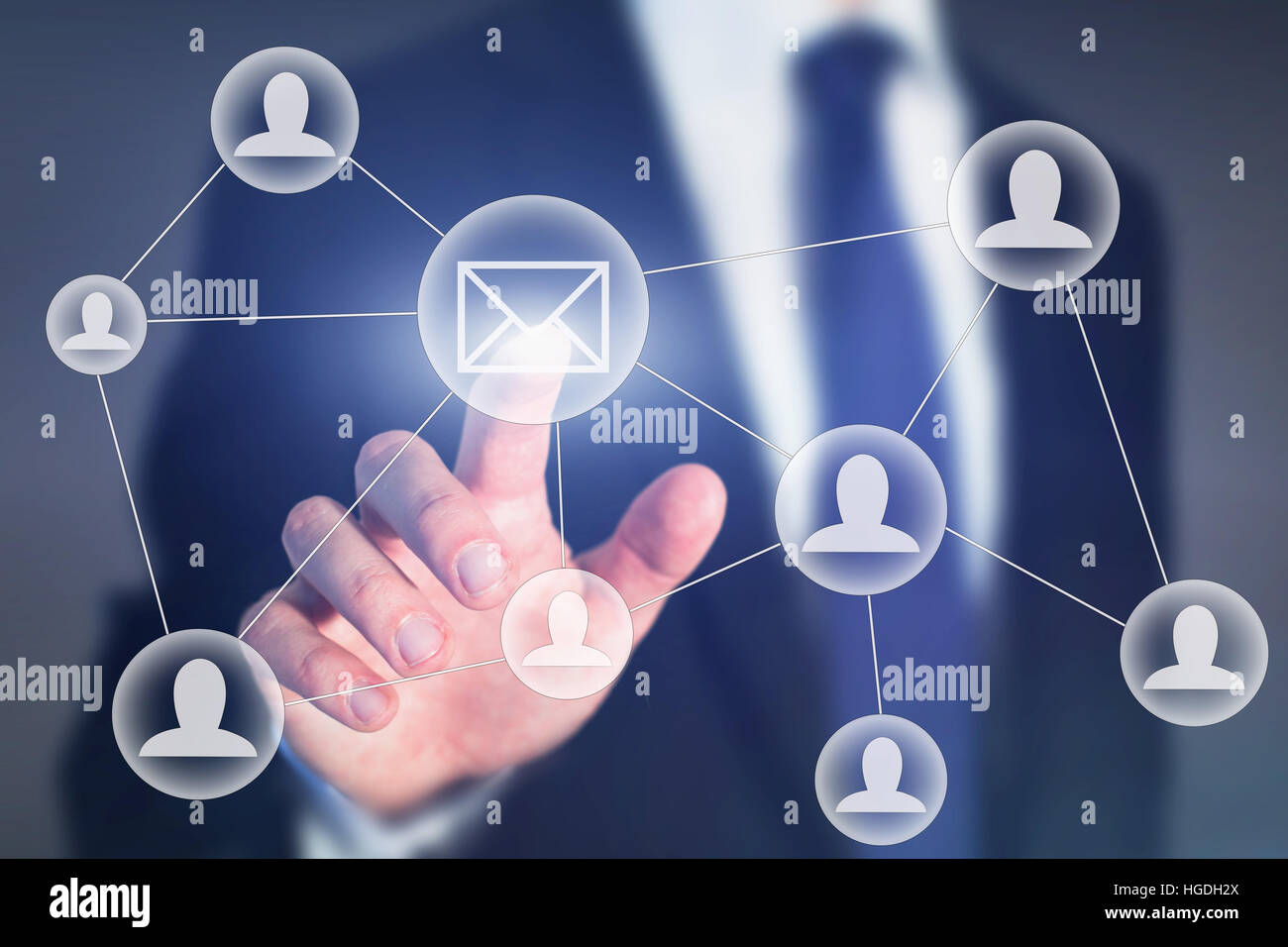 email marketing or business communication concept on touch screen - Stock Image